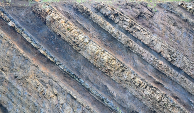 Bands of conglomerate rock, shales and coal are seen in the close-up of the Sideling Hill road cut.  Image: Joel Duff