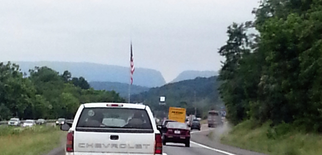 A view of the Sideline Hill road cut on I-68 from I-70 near Hancock MD about 7 miles away.  Image: Joel Duff