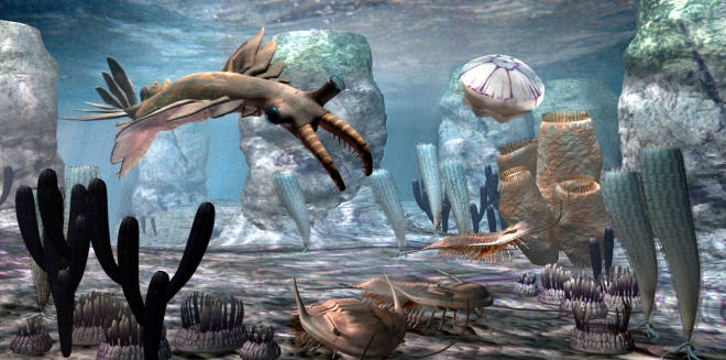 Is this alien life?  It may look alien to you but this is a reconstruction of life on our own planet from the Cambrian Period based on fossils found.