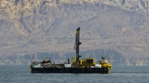 A drilling barge in operation.  Cores from the below the deepest portion of the Dead Sea were taken to document the history of the Dead Sea spanning up to 500,000 years.