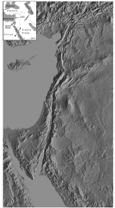 Map showing Middle East region and clear scar of the Dead Sea fault/Jordan Valley Rift.