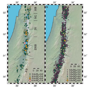 Earthquakes greater than magnitude 2.0 from 1900 to 2000 (left) and all earthquakes from 1983 to 2000 (right).  From Hofstetter 2014 (Ref. 2)