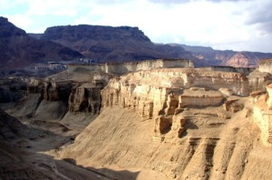 Typical view of Lisan Formation below the cliff of Masada. Vertical exposures are about 40 m.  Image from: http://geophysics-old.tau.ac.il/personal/shmulik/MasadaFZ.htm