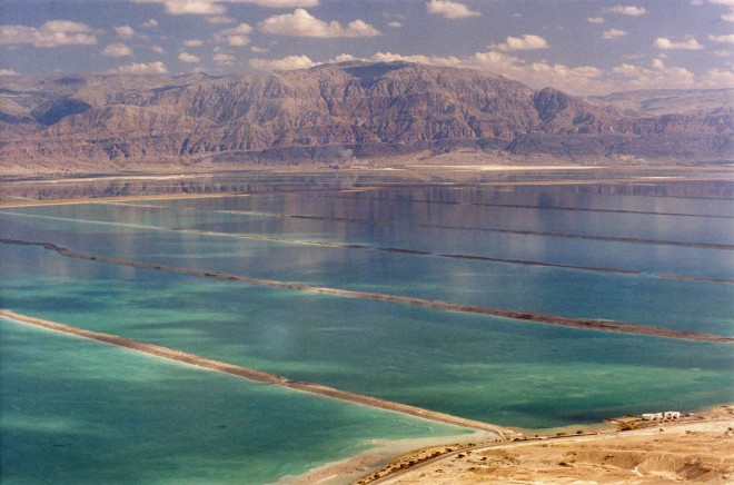 South end of the Dead Sea.  Water is pumped into this area where it evaporate to produced salts.