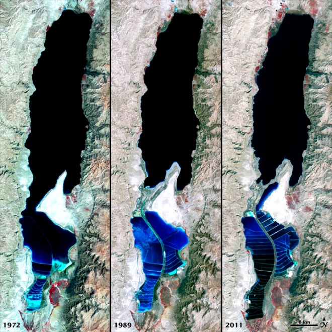 A comparison of the Dead Sea from 1972-2011 - NASA Earth Observatory