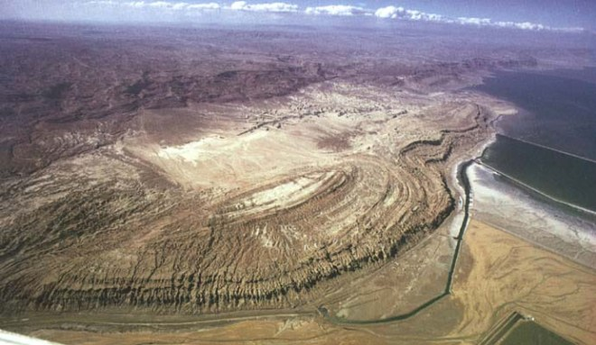 Mt. Sodom from the air. A portion of the Dead Sea is seen to the right.