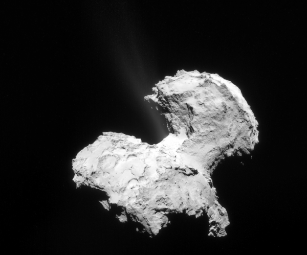 An overexposed image of Comet 67P showing jets of water vapor emanating from the comet. Image: ESA