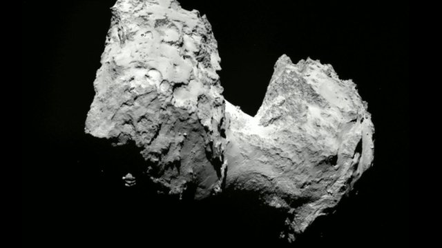 The dumbbell shaped Comet 67P.  The Rosetta satellite is presently orbiting this comet as is passes around the Sun.  Image:  Planetary Society/ESA