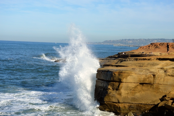 Waves crash on Sunset Cliffs. Image Joel Duff, Nov 2014