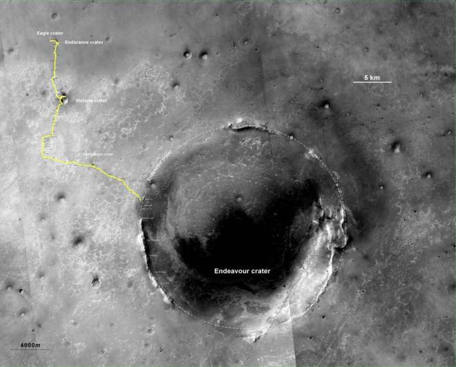 Traverse map of Opportunity showing its trek from landing site to the rim of Endeavor where it is today. Image: NASA/JPL-caltech
