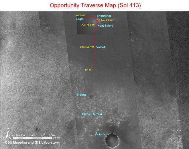 The map of the Opportunities travels after a year on Mars.  The large crater (Victoria) at the bottom of the image is nothing more than a pinprick on the first map.  Image:  NASA/JPL-CalTech