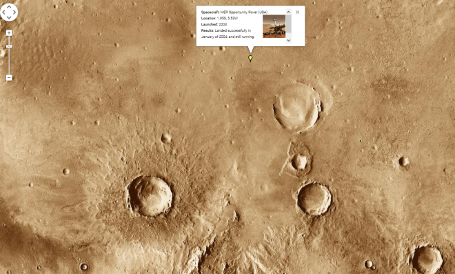 Image grab from Google maps of Mars showing the landing site of the Opportunity rover in January of 2004. It has since roved 20km southeast to the large crater called Endurance after visiting several small craters not even visible on this map. Image: Google Inc.