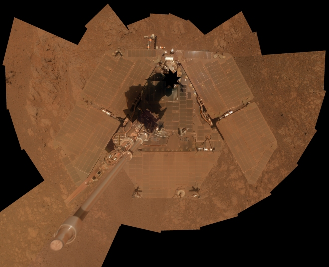 Opportunity self portrait showing its covering of dust after 10 years of roving Mars.  Image: NASA/JPL-caltech