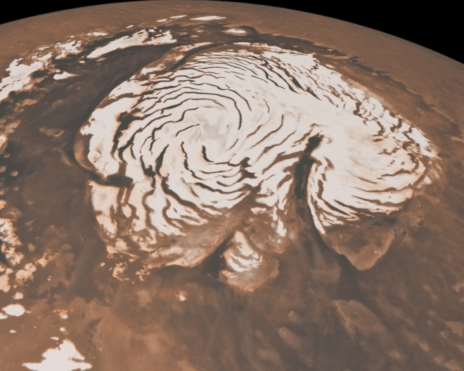 The North Pole of Mars showing season dry-ice cap. Image: NASA