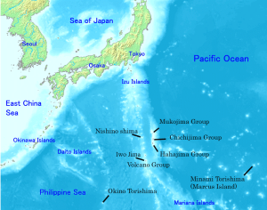 Map showing location of Nishino-shima and other members of the Ogasawara Group of islands south of mainland Japan. Map credit: Wikpedia