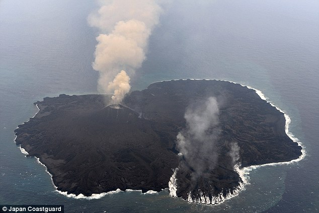 A recent picture from the end of the February 2015 shows the entire island engulfed by fresh volcanic material with volcanic activity still going strong.