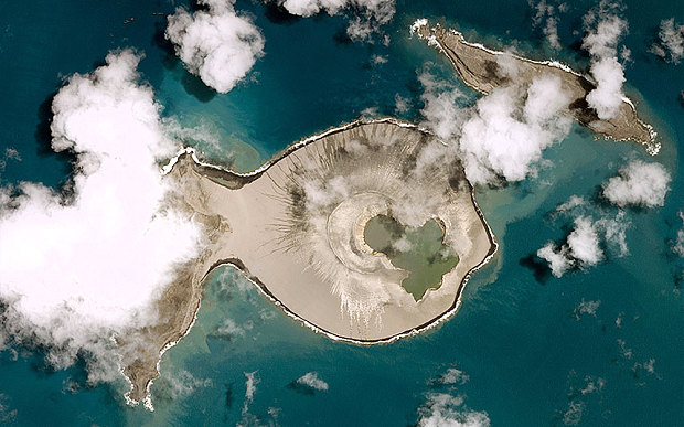 The post-eruption satellite view after the island on the left became joined to the crater which created a larger land mass (Pleiades © CNES 2015)