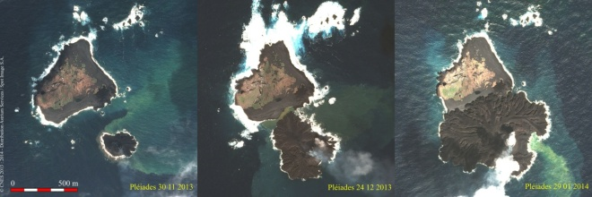 Pleides satelite images of the new island merging with Nishino-shima. Image from: http://www.geo-airbusds.com/en/5624-two-japanese-islands-merge-together-under-the-watchful-gaze-of-pleiades