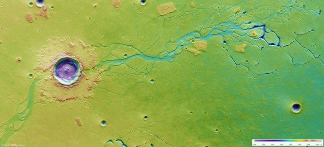 ESA image of Mars surface showing elevation in color. Channels where water once flooded the plain are clearly visible. A large crater interrupts this channel indicating it was formed at a later time in Mars history. ESA/DLR/FU Berlin (G. Neukum)