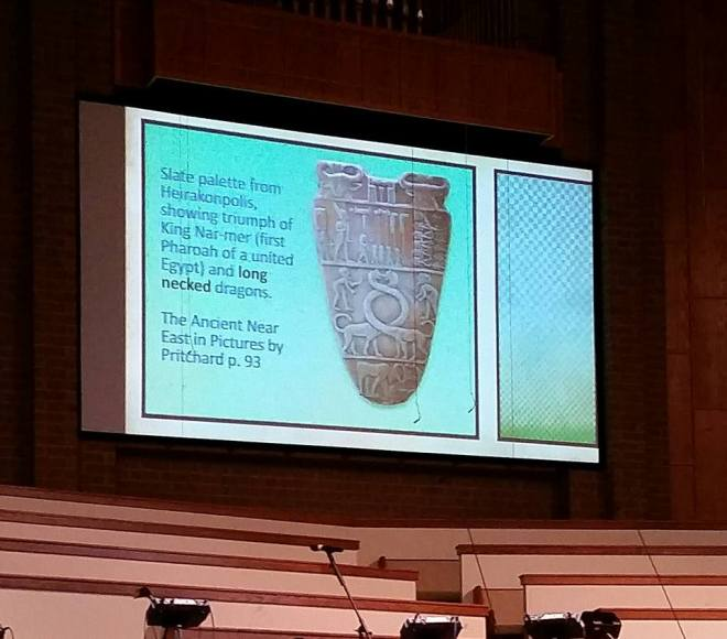 Image presented to K-6 graders at an Answers in Genesis conference showing that dinosaurs and man lived together.  Clearly a bad interpretation but also inconsistent with other parts of the seminar in which dinosaurs were said to have died due to the Ice Age which would have been before the Egyptians produced this pottery.