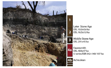 Figure 3 from Wilkins et showing a portion of the dig site with layers of sediments labeled. The largest collection of stone artifacts comes from the section labeled 4a.