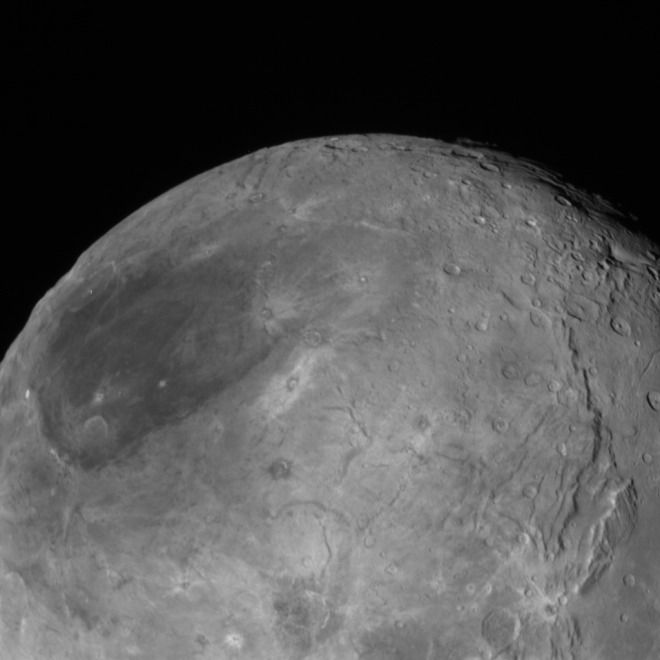 Pluto's moon, Charon, taken by the New Horizons mission spacecraft as it passed by Pluto last month. This image was received back on Earth last week. Image: NASA/Johns Hopkins University Applied Physics Laboratory/Southwest Research Institute