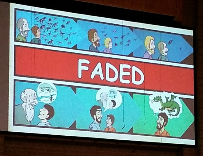 "A slide from Bryan Osborne's dinosaur presentation at a AiG conference in Northeast Ohio recently. Her we see that after the flood dinosaurs ""faded"" leaving only warped stories of the prior existence. Image: Joel Duff"