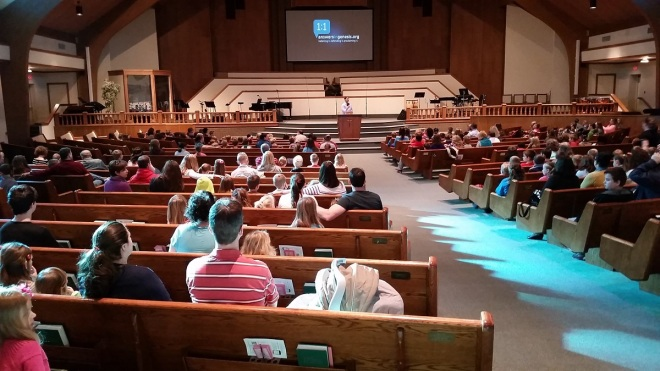 """Answers in Genesis talk """"Dinosaurs for Kids"""" by Bryan Osborne about to start in a church in Marlboro Ohio"""