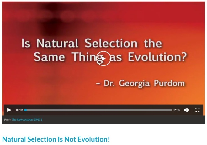 Screenshot of the Answers in Genesis webpage with Dr. Purdom's video. Below is the title of the first article below the video. Page: https://answersingenesis.org/natural-selection/