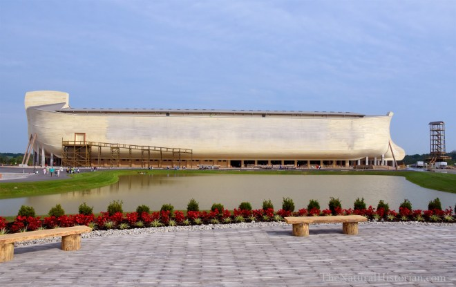 Noah's Ark, the featured attraction at the Ark Encounter theme park. I took this picture at about 10:30 am Friday, July 22. You can there are a few people circling around to go the entrance (right side below the ark). Just a few people taking pictures where I stood. Photo: Joel Duff