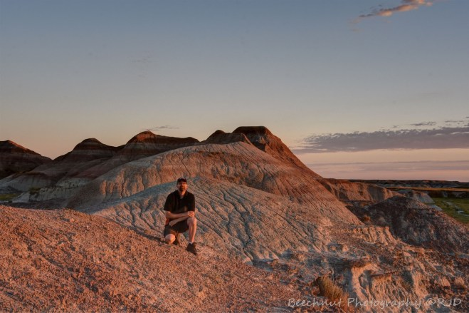 "Just after sunrise east of Wall, South Dakota on a small outcrop of ""badlands."" Photo: Joel Duff via tripod."