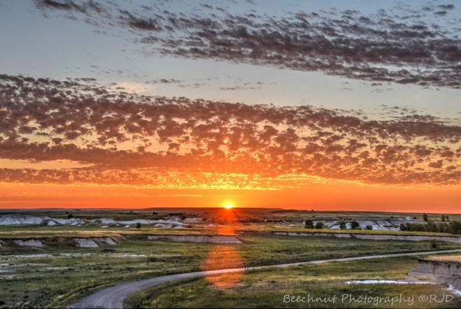 Sunrise just east of Wall, South Dakota. Photo (HDR - 7 exposures): Joel Duff, June 2016.