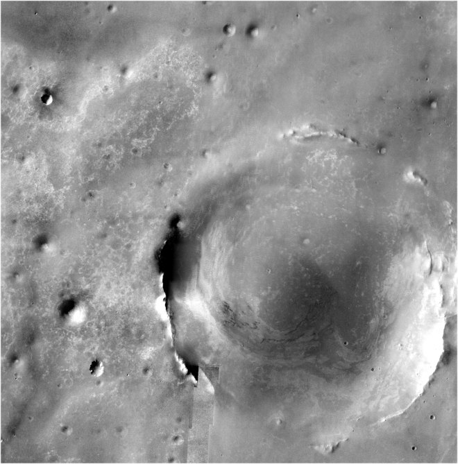 Endeavor Crater on Mars is the largest crater in this image. Notice that there are other craters inside of this large crater. One of the Endurance Crater is so small it is not even visible in this image. Image credit: NASA/JPL
